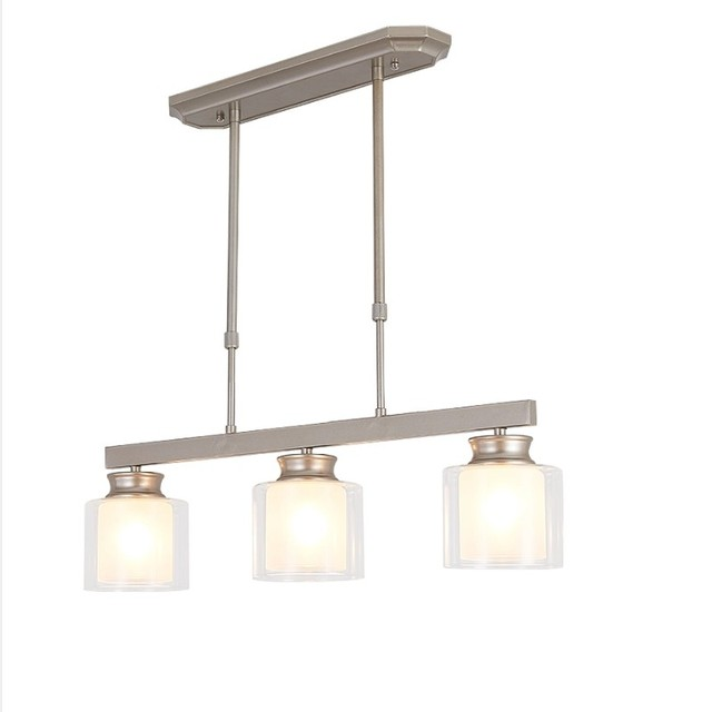 Light Modern Clear Glass Pendant Lighting Brushed Nickel Dining Room Fixtures Hanging Contemporary Lamp Spu