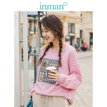 INMAN 2019 Autumn New Arrival O-neck Drop-shoulder Sleeve Fashion Affixed Cloth Embroidered Casual Loose Women Sweater недорого