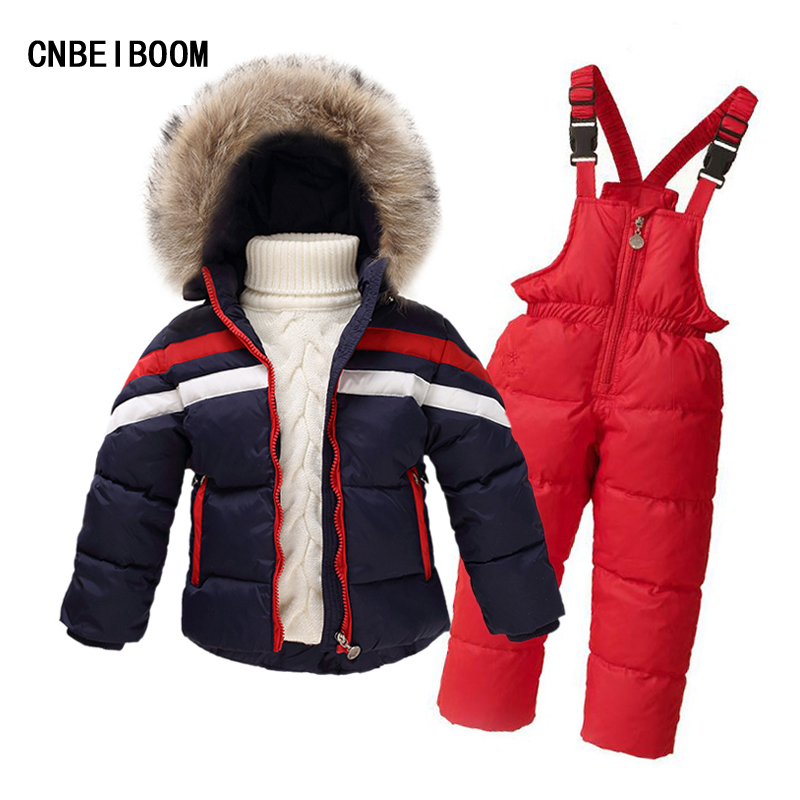 2016 Newest Children Boys Winter Clothing Set Girls 100% Down Jacket Coat Overalls Ski Suit Snowsuit 2-8 Yrs Fur Kids Clothes