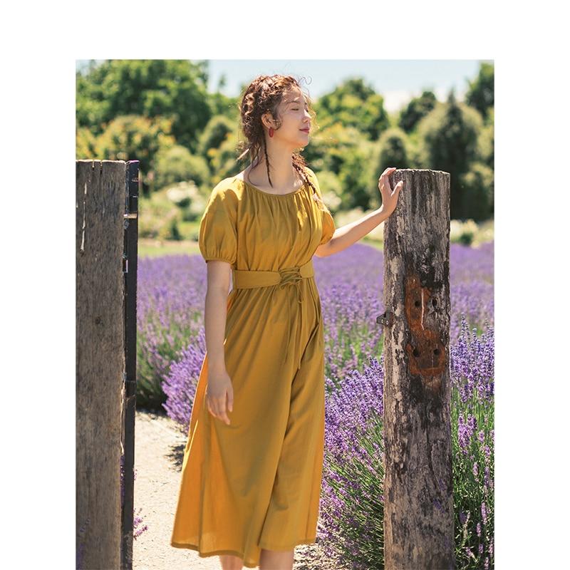 INMAN Summer Solid 100% Cotton O-neck Short Sleeve Defined Waist Slim Elegant Women Dress