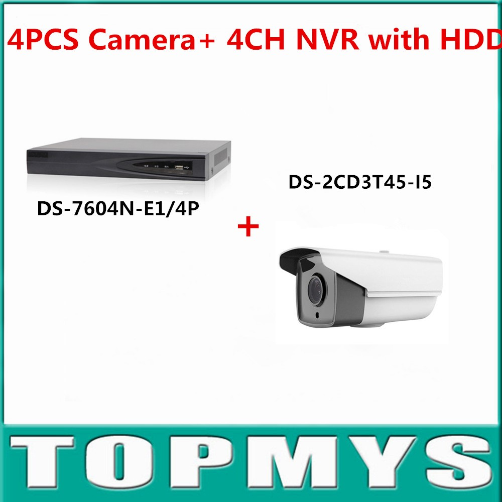 HIK Camera DS 2CD3T45 I5 with 1080P 4CH NVR DS 7104N SN P or DS 7604N