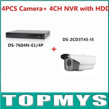 HIK Camera DS-2CD3T45-I5 with 1080P 4CH NVR(DS-7104N-SN/P or DS-7604N-E1/4P ) Simple kit for New Installer 2TB HDD Included