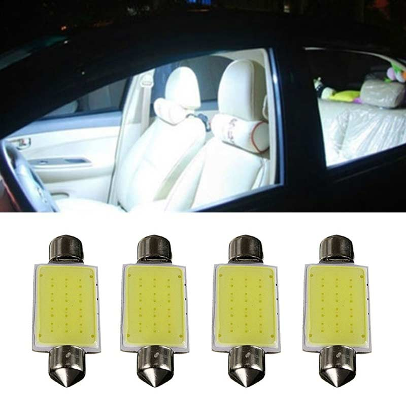 4 Pcs Festoon COB 41MM 2W  LED Bulbs Interior Dome Lights White 12V PAK55