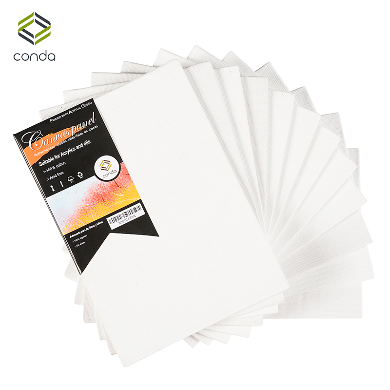 CONDA 12.7x17.7cm (5x7inch) Canvas Panels Pack of 12 Artist Quality Acid Free Canvas Board Oil Painting Board ArtSchool Supplies canvas board canvas panel canvas art supplies - title=