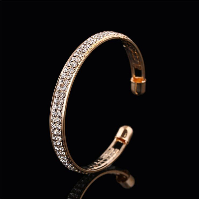 1 Piece Women Lady Golden/Silvery Crystal Cuff Charm Bangel pulseiras para as mulheres love bileklik New Jewelry Party 3