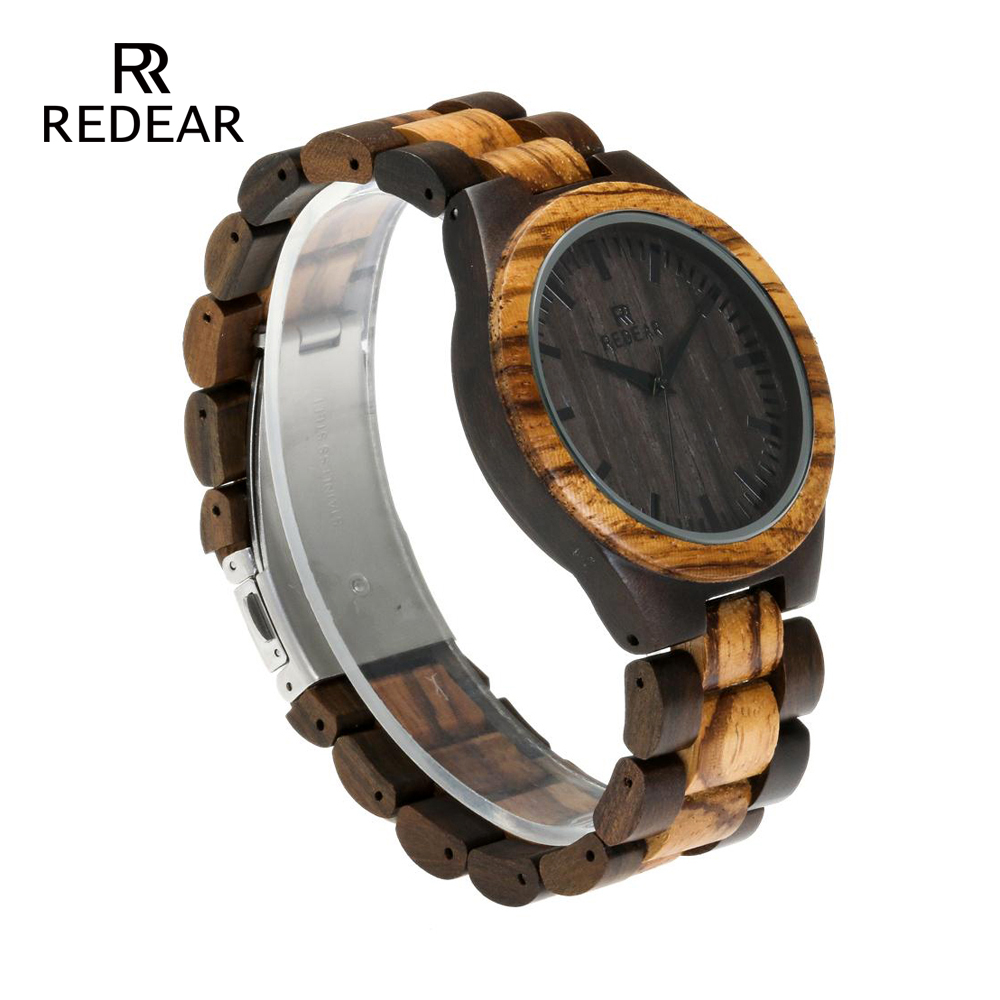 REDEAR Top Quality Wood Watch til mænd Wooden Fashion Brand Designer - Dameure - Foto 3