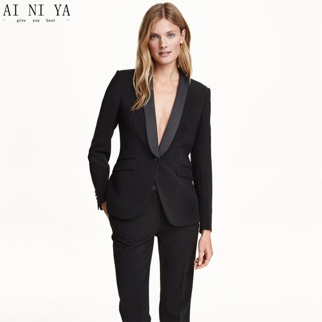 6b44d321f26 Черные штаны костюмы для женщин деловой костюм комплект из 2 предметов  офисная форма Формальные Женский Брючный