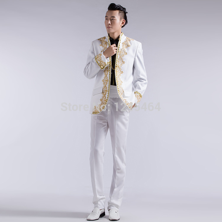 Free Shipping White Black Red Colors Wedding Groom Tuxedo Suits Embroidery Applique Suit Men Gold Jacket Pants2014 In From Mens Clothing