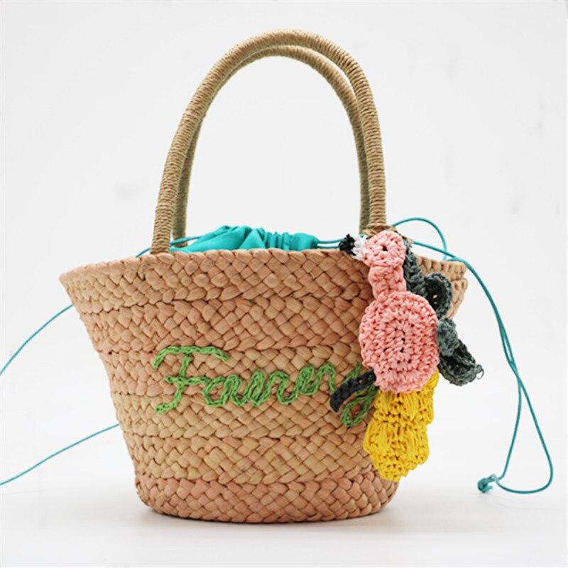 Cute Straw Bags Weave Summer Basket Bag Drawstring Women Beach Bag Small Top-handle Shoulder Bag Korean Children Causal Tote Ba