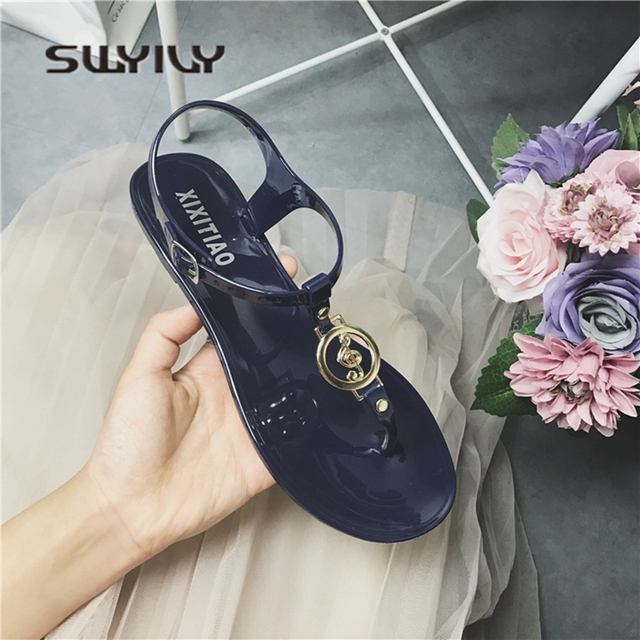 c32c81d33f1c SWYIVY Woman Sandals Jelly Shoes Flats 2018 Summer Flip Flop Sandals Woman  Female Holiday Beach Casual Shoes Rome Simple Black