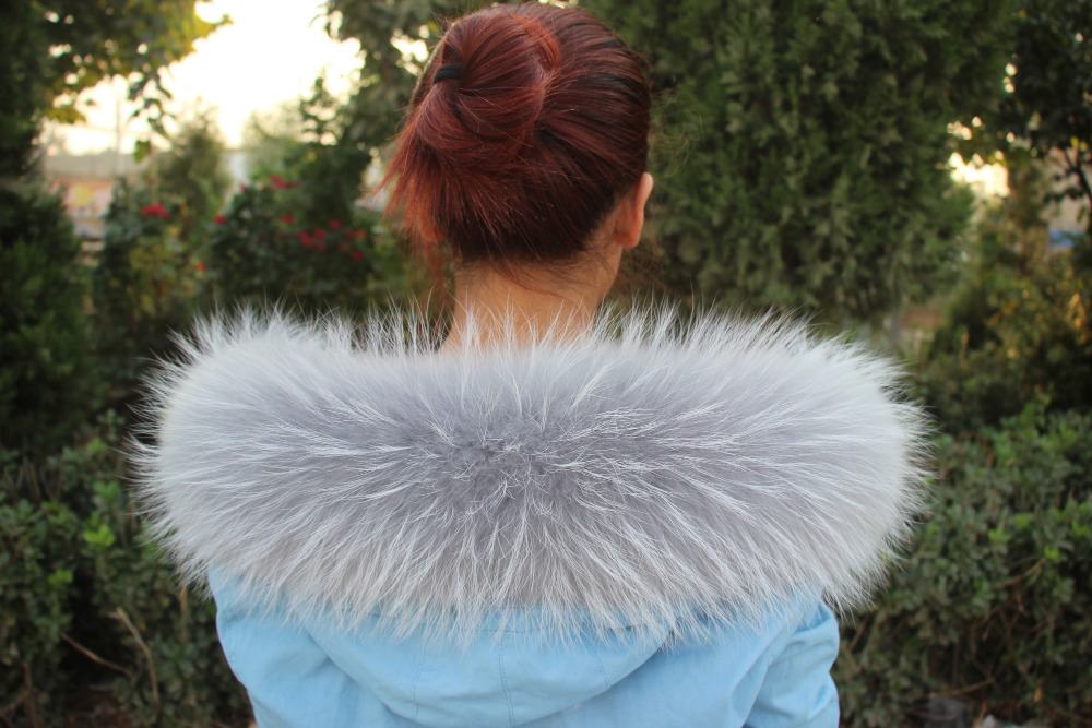 76X16CM 100% Genuine Real Natural Raccoon Fur Collar Women Scarf Fashion Coat Sweater Jacket Hoodie Scarves Luxury Neck Cap R6