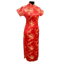 Navy Blue Vintage Chinese Women's Satin Long Cheongsam Qipao Evening Dress Flower