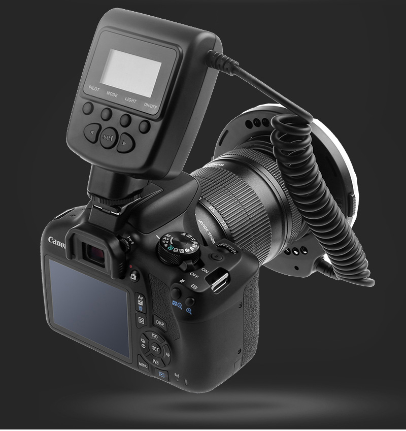 Travor RF 550D LED Macro Ring Flash light with 8 adapter ring For Nikon Canon Panasonic Camera 28