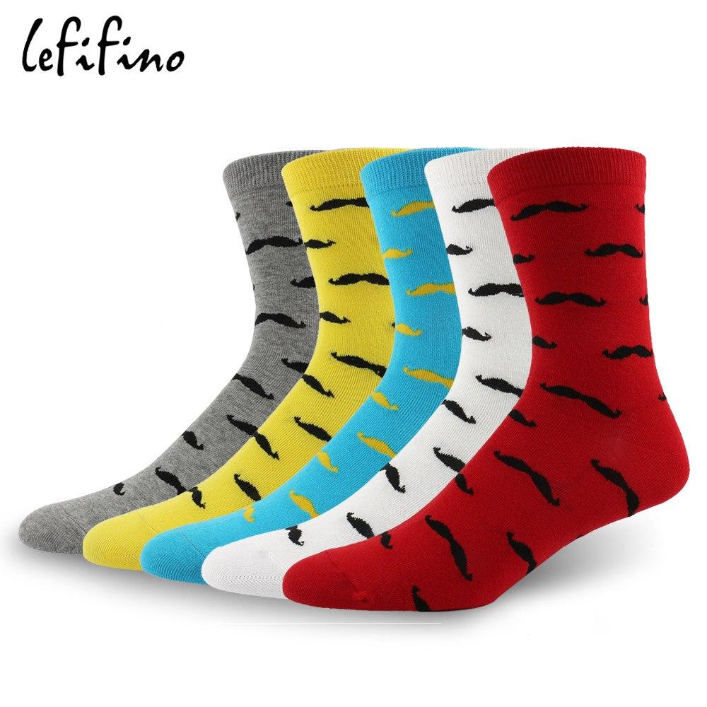 LeFifino Happy Men's Socks Funny Mens Dress Socks Novelty Moustache Pattern Long Socks Red Blue Gray White Yellow Beard Le01929