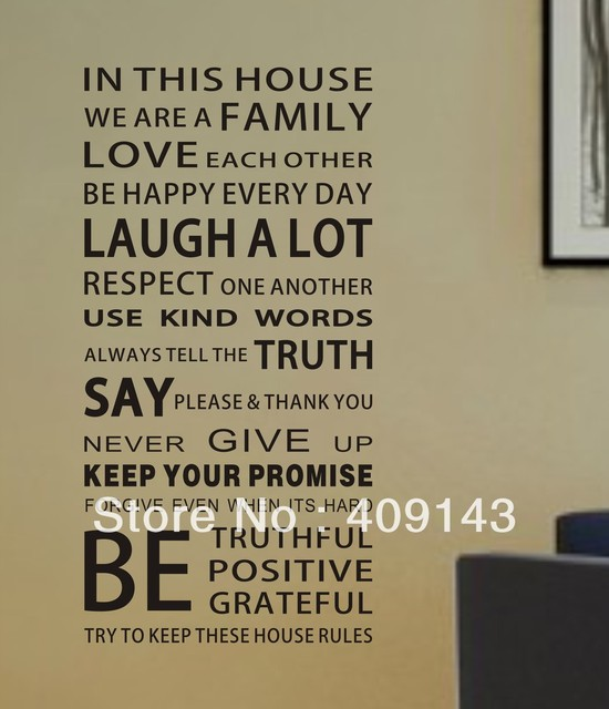 Fashion Home Rules In This House Removable Vinyl PVC Wall Sticker DIY 3D Art Room Wall Decal Quotes Decoration Korean