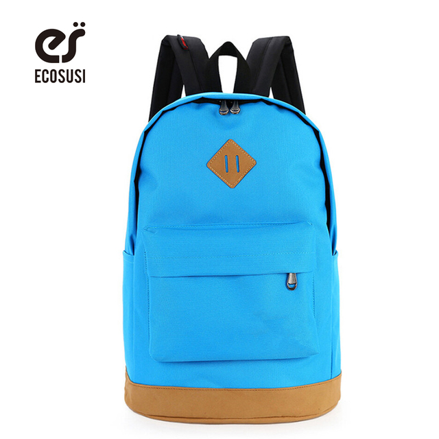 ECOSUSI Canvas Backpack For Student Colorful School Bags For Teenagers Reflective Rucksack Women Casual Laptop Backpack Mochila