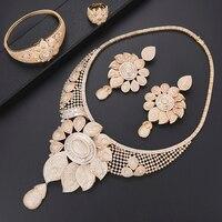 missvikki Ethnic Big Blooming Flowers Pendant Earrings Dubai Jewelry Set for Women Bridal Wedding Women Anniversary Gold Jewelry
