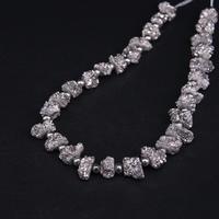 Approx29PCS/strand Silver Titanium Natural Quartz Geode Drusy Column/Cylinder Nugget Beads,Raw Agates Crystal Druzy Pendants
