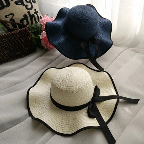 2016 Nueva Llegada Dulce Bow Wave Paja Gorras Casquillo Del Verano Femenino Sombrero de playa Casual Patchwork Sombreros Para Mujeres Parasol Sombrero Chapeau