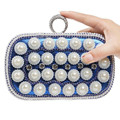 New 2016 Pearls Clutch Bag Luxury Diamond Evening Bags Purse Women Evening Clutch Wedding Bride Purse Chain Handbags Gold Silver