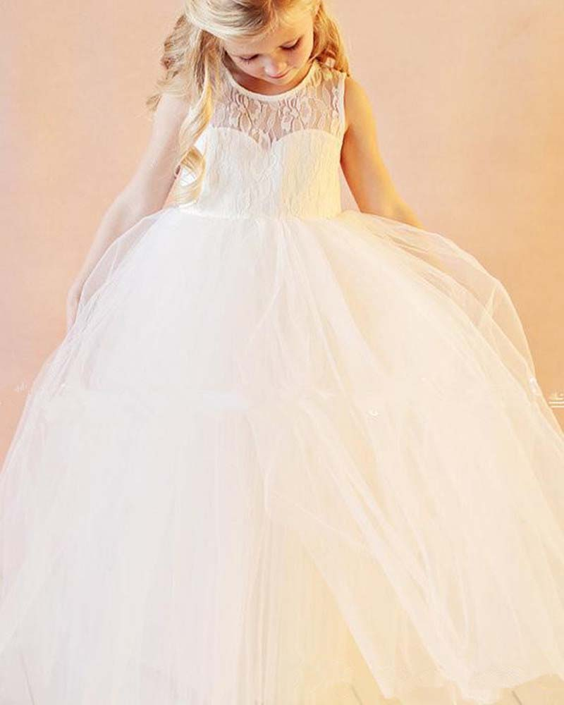 Pretty Little Princess Ball Gown See Through Neckline   Flower     Girl     Dresses   for Wedding Party Pageant Custom Made