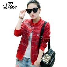 TLZC Women New O-Neck Jacket Plus Size M-4XL Letter Picture Short Autumn Spring Coat Black / White / Red Fashion Loose Outwear