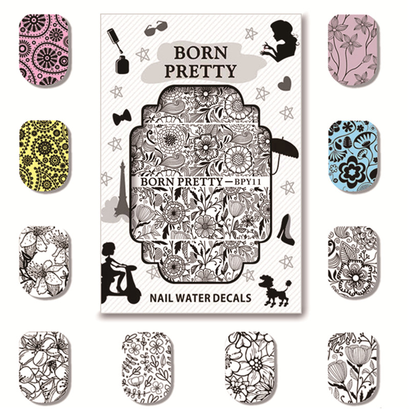 5 Sheets BORN PRETTY Water Decals Flower Pattern Nail Transfer Sticker BPY11-15 ободки pretty mania ободок