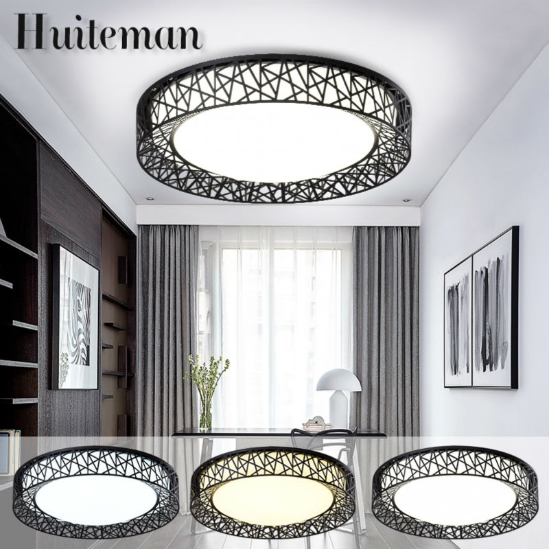 Huiteman Modern Ceiling Lights Black Adjustable Color Warm White Round Novelty Luminaire Living Room Bedroom LED Ceiling Lamps noosion modern led ceiling lamp for bedroom room black and white color with crystal plafon techo iluminacion lustre de plafond
