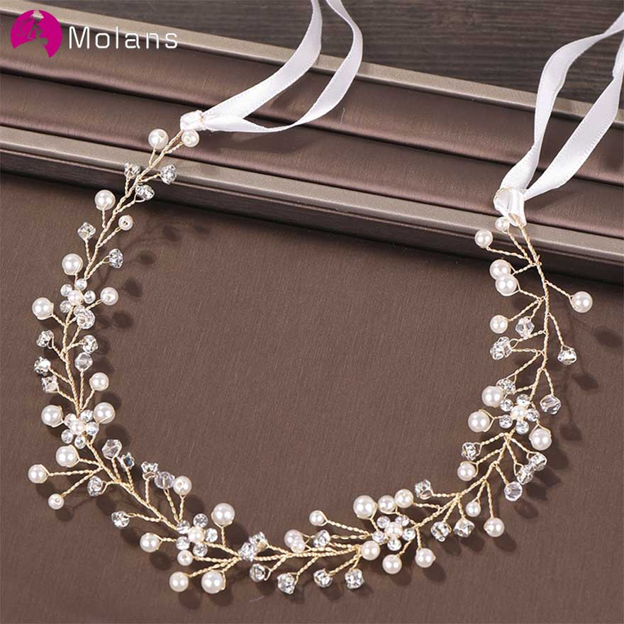 MOLANS European Fashion Pearl Water Drill For Bride Headbands Handicraft Twisted Alloy Inlaid Drill For Wedding Hair Accessories