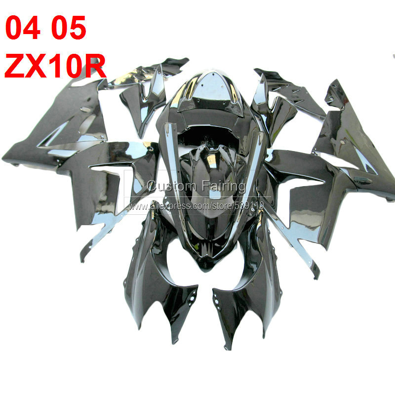 100%FIT BODY KITS FOR KAWASAKI ZX10R 2004 2005 NINJA 04 05 ABS BLACK ZX-10R FAIRING KIT FAIRINGS  [xl132]