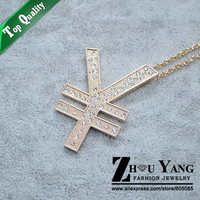 ZYM030 Symbols Of The Yuan Sweater Coat Chain 18K Gold Plated Pendant Necklace Jewelry Austrian Crystal