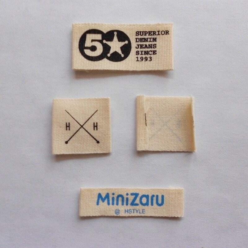 Personnalisé (1000 pièces/pack) vêtement coton étiquette écran imprimé vêtements étiquette principale avec nom de marque et logo livraison gratuite