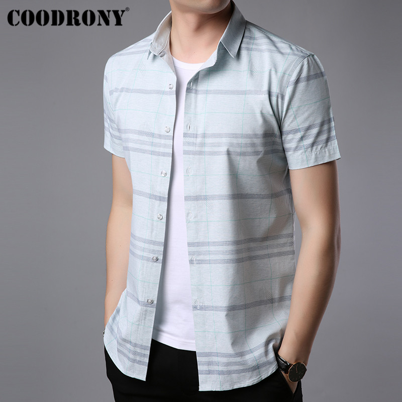 7c846cdf8 COODRONY Short Sleeve Striped Shirt Men Brand Clothing 2019 Spring Summer  Business Casual Shirts Social Camisa Masculina S96045 - Daily Buy Tips