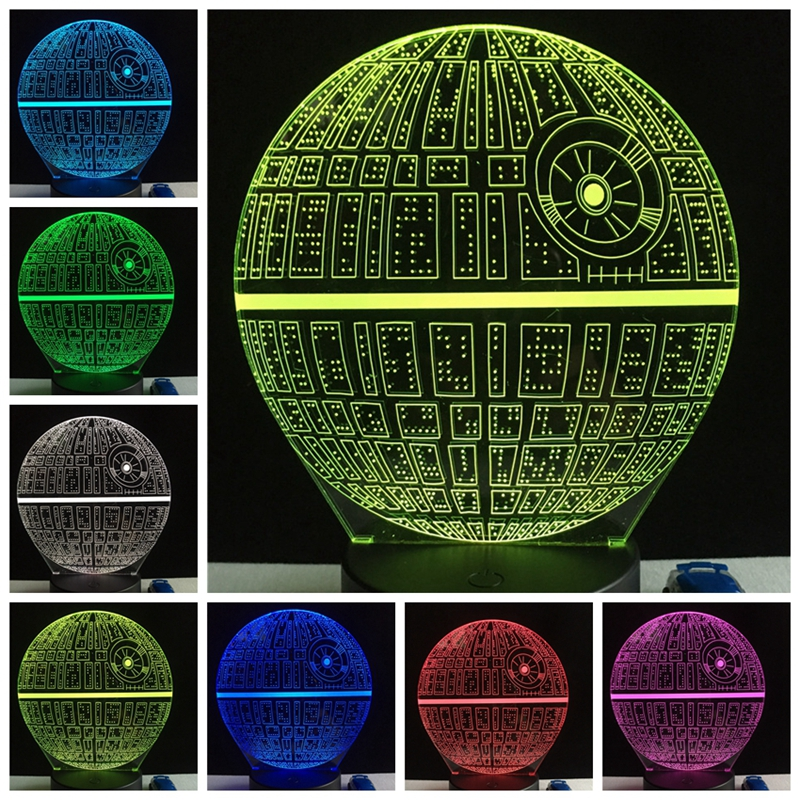 Star Wars Death Star 3D RGB LED Night Light 7 Color Changing Sleep Table Lamp Luminaria Livingroom Decoration Holiday Kids Gifts
