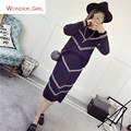 2016 New Arrival Women's Autumn Clothes Knitting Wave Striped Pullover Top And Elastic Skirt Set Female Casual Suits 3 Colors In