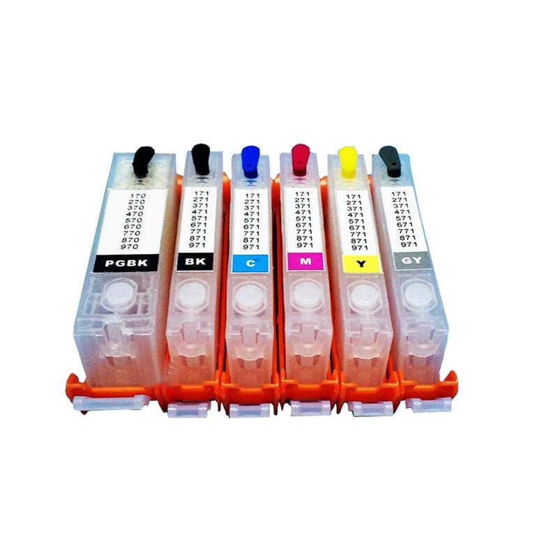 6 colors PGI-470XL CLI-471XL Refillable ink cartridges For Canon PIXMA MG7740 with ARC chips pgi 425 cli 425 refillable ink cartridges for canon pgi425 pixma ip4840 mg5140 ip4940 ix6540 mg5240 mg5340 mx714 mx884 mx894