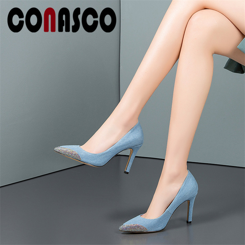 CONASCO Elegant Women High Heels High Quality Casual Shoes Rhinestone Decoration Fashion Pumps Spring Summer Dress Shoes Woman