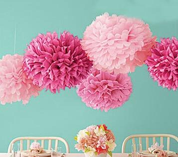 20cm=8 inch Tissue Paper Flowers paper pom poms balls lantern Party Decor Craft Wedding multi color option whcn+