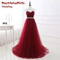 Bridal 2017 Elegant Vintage Red Long Prom Dresses Crystal Sash Chiffon Sweep Train Sweetheart Sleeveless Lace Up Evening Dress