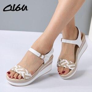 Image 1 - O16U Female Sandals Shoes Wedge Platform Leather Ladies Buckle Sandals High Heels Weave Strap Sandals For Women Summer 2017