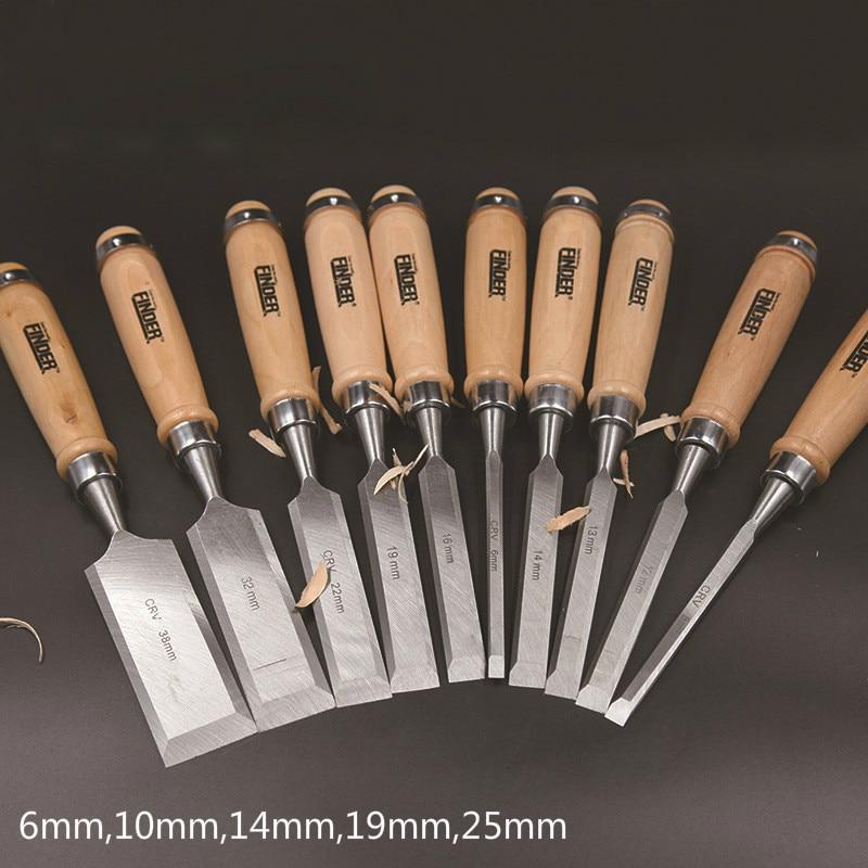 цена на 5 Pcs/set 6,10,14,19,25mm Flat Woodworking Chisel Tool Set Professional Wood Carving Knife Hand Tools for Carving Enthusiasts