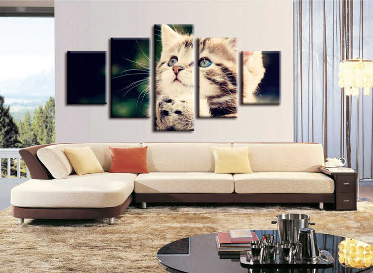 5 pieces / set HD Print Wall Canvas Paintings Cat Art With Animal Poster For Living Room