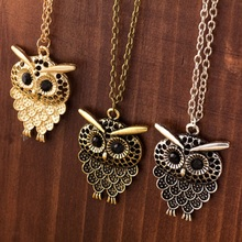 Vintage Women Owl Pendant Neclace Long Sweater Chain Jewelry Golden Antique Silver Bronze Charm fashion