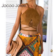 0f9198a991 Summer Vintage Brown Faux Leather Suede Cropped Tank Top Sexy Lace Up Camis  Women Tops Slim