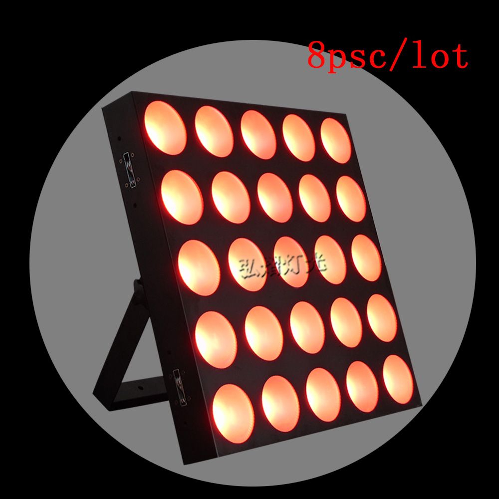 8pcs/lot 2017 high quality 5x5 RGB matrix led lights 25x10w sound auto dot matrix for wedding disco