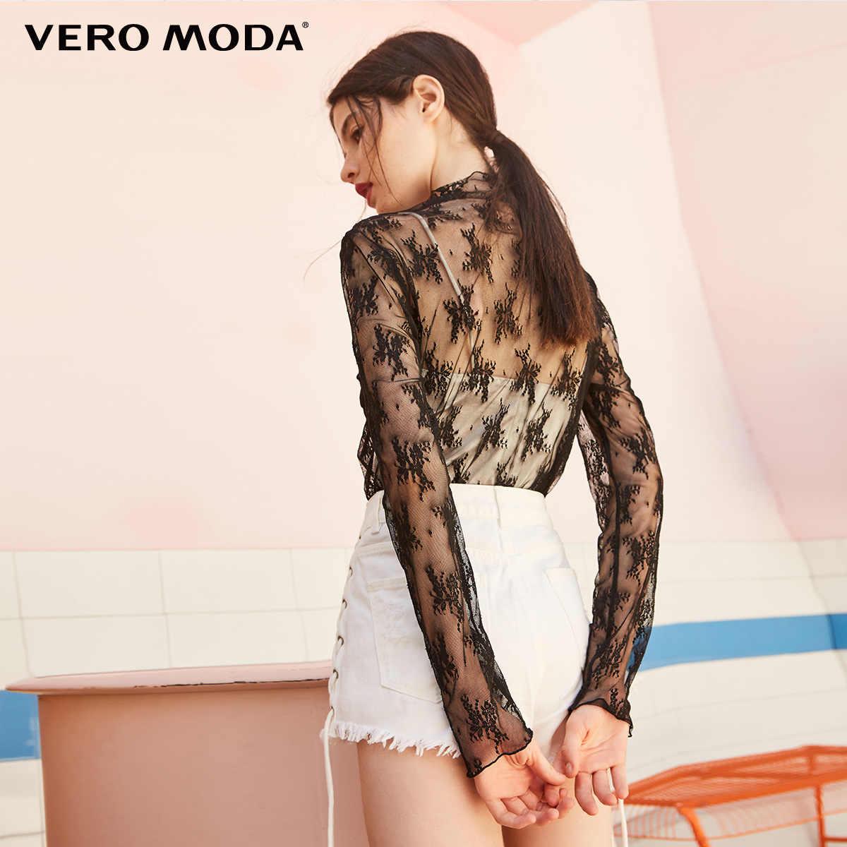 Vero Moda женские сексуальные сетчатые Прозрачные топы с длинными рукавами и воротником-стойкой, женские свободные повседневные Элегантные футболки   318302503