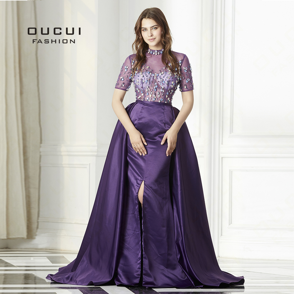 2019 Purple Short Sleeves Sexy Prom Dresses Real Photo High Neck Puffy Wear Evening Gowns Vestidos