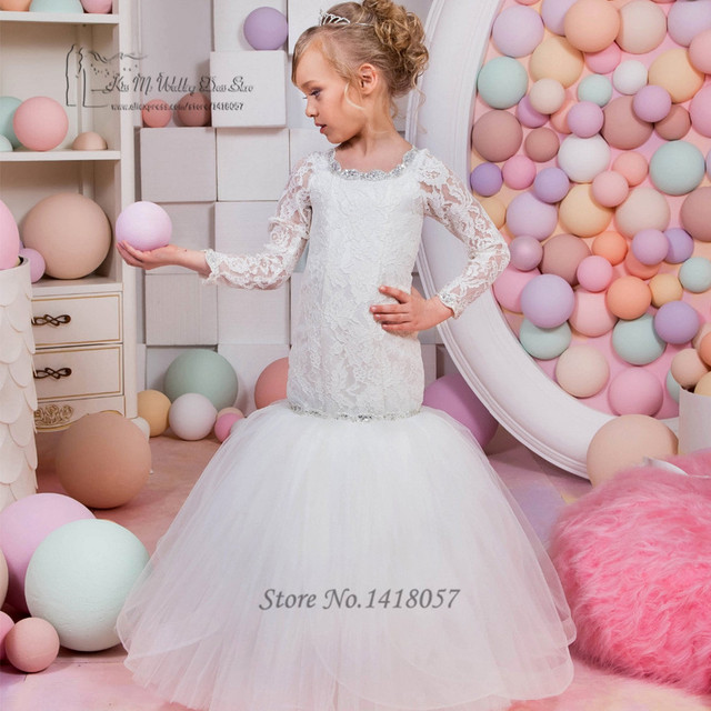 Long Sleeve First Communion Dresses For Girls White Lace Pageant