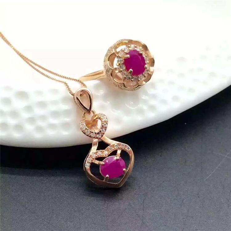 KJJEAXCMY boutique bijoux en argent sterling S925 sertie d'un pendentif en rubis naturel + collier + bague