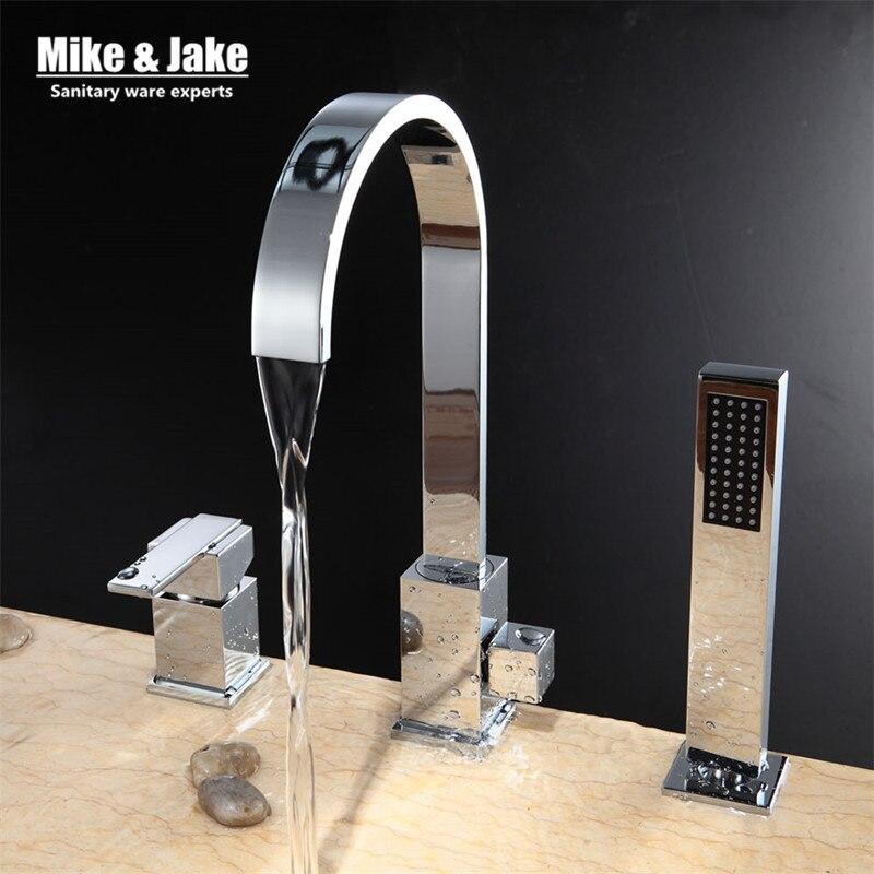 Chrome special 3pcs kit Bathroom faucet sink mixer crane bathroom faucet basin crane white tap sink